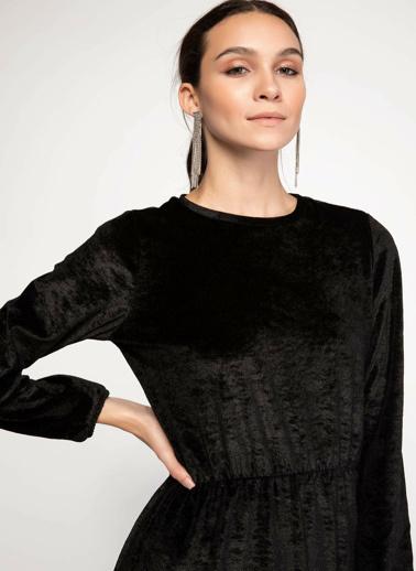 DeFacto Kadife Uzun Elbise Siyah